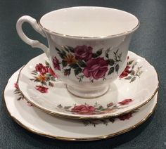 Queen Anne Trio England Patt No 8628 Floral Roses Tea Cup Saucer Cake Plate Used