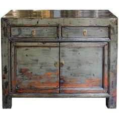 Vintage gray lacquered chest with clean lines and orange highlights on the doors would make a statement at the end of a hallway or small entry way. Gansu, China. New hardware. Contact us for more info or to purchase this item today.