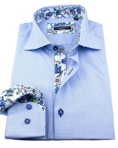 European style shirt, blue slim fit dress shirt with unique floral pattern designed by Franck Michel Slim Fit Dress Shirts, Fitted Dress Shirts, Shirt Dress, Cool Shirts, Casual Shirts, Formal Shirts, Mens Shirt Pattern, Mens Attire, Mens Fashion