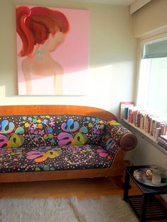 amazing antique couch from 19th century dressed with modern look , the piece of art is by finnish artist Katja Tukiainen This is a home that belongs to best blogger ever, Vivian Valpuri <3