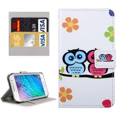 [$2.32] Owls Couple Patterns Horizontal Flip Leather Case with Magnetic Snap & Card Slots & Holder & Wallet for Samsung Galaxy J1 Ace / J110