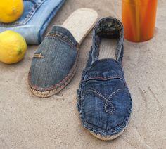 Diy Jeans Denim Shoes Shoes With Jeans Jeans Recycling Espadrille Sandals Espadrilles Denim Crafts Denim Ideas Shoe Pattern Blue Jean Shoes, Denim Shoes, Shoes With Jeans, Jeans Recycling, Recycle Jeans, Espadrilles, Espadrille Shoes, Punk Shoes, Diy Jeans