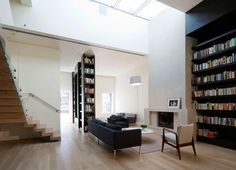 I like the tall bookshelves, the skylight and and high ceiling (the rest of the interior I would change).