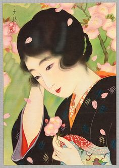 Beauty and the cherry blossoms , by Chigusa Kotani datet 1910-1920. http://www.artelino.com/archive/artist_catalog_show.asp?alp==507=1=1=4=1=37=1=2==Chigusa%2520Kotani%25201890-1945%2520-%2520Beauty%2520and%2520Cherry%2520Blossoms%2520-%2520artelino