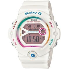 Casio Women's Baby G Resin Strap Watch , White/Pink ($125) ❤ liked on Polyvore featuring jewelry, watches, digital wrist watch, digital chronograph watches, white watches, buckle watches and dial watches