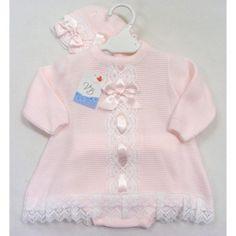 BABY GIRL SPANISH LACE TRIM PINK DRESS, KNICKS & BONNET SET (DC1928) #Juliana
