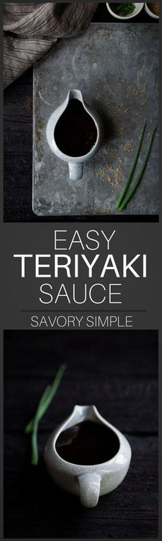 This homemade teriyaki sauce is both sweet and savory, and it comes together in no time! It's perfect for marinating as well as serving alongside chicken, beef, seafood, tofu, noodles, and assorted vegetables. #teriyaki #sauce #japanese #recipe #savorysimple
