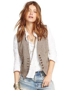 Veste en laine et lin à chevrons   Collection Denim & Supply Ralph Lauren