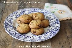 """This Paleo Chocolate Chip Cookies recipe is so perfectly delicious no one would ever know that it was grain-free and refined sugar-free. You could feed this to your non-Paleo company and all they would say is """"wow, these are great cookies! Paleo Dessert, Healthy Sweets, Healthy Food, Paleo Chocolate Chip Cookies, Paleo Cookies, Chocolate Treats, Paleo Recipes, Sweet Recipes, Whole Food Recipes"""