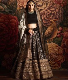 Sabyasachi 2016 bridal collection-Sabyasachi collection 2016 for brides and grooms black lehenga Indian Bridal Outfits, Indian Bridal Lehenga, Indian Bridal Wear, Indian Designer Outfits, Indian Dresses, Indian Wear, Indian Designers, Pakistani Outfits, Indian Style