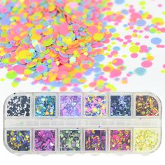 1 Case Mini Round Nail Glitter Sequins Paillette Flakes Set Mixed Size Colorful Nail Art Decorations Shape Tips Manicure SAP  Price: 1.72 USD