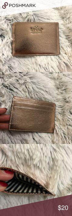 Kate Spade metallic rose gold card holder Metallic Rose Gold color, 10/10 condition kate spade Bags Wallets