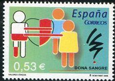 Francobolli - Donazione e trasfusione di sangue - Blood donation and transfusion Spagna 2005
