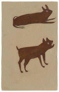 Bill Traylor, Brown Rabbit, Brown Dog, 1939-1942 on ArtStack #bill-traylor #art