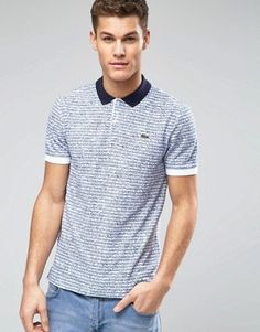 Lacoste Live Polo Shirt with Stripe and Print Slim Fit £100.00 @ Asos