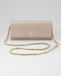 Prada Leather Wallet on a Chain - Neiman Marcus