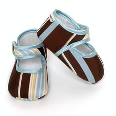 Beary Blue Stripe Baby Shoes