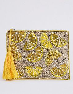 Marks and Spencer Embellished Zip Detail Clutch Purse Embellished Clutch Bags, Beaded Clutch, Beaded Bags, Embroidery Bags, Bead Embroidery Jewelry, Beaded Embroidery, Bag Women, Diy Handbag, Mellow Yellow