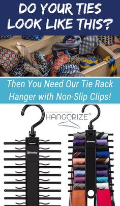 Tie Rack Hanger with Non-Slip Clips – Hanger closet Tie Storage, Corner Storage, Closet Storage, Tie Organization, Small Space Organization, Bedroom Organization, Tie Rack, Jewelry Wall, Wooden Earrings