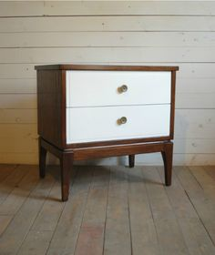 white mid century nightstand. Beautiful Solid Wood Mid Century Nightstand / End Table With Walnut Case And Painted Creamy White Drawers. N