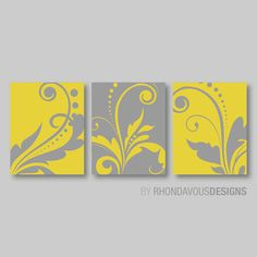 Abstract Modern Swirl Flourish Print Trio by RhondavousDesigns2