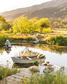 French Farmhouse Inspiration: Patina Farm - Home Stories A to Z The Farm, Pond Design, Landscape Design, Design Design, Farm Landscaping, Patina Farm, Farm Pond, Building A Pond, Romantic Picnics