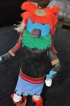 """Kachina Doll signed by Bessie Nez 17"""" Plus Base A quite tall kachina doll, circa late 1970s early 1980s. There is damage to the left arm of the doll where it meets the torso (pictured). There is an am"""