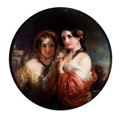 The Sisters, by Charles Baxter (1809-79). Oil on board. England, 19th century