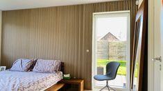 Akupanel   Classic Oak (black felt) - WoodUpp Slat Wall, Wood Wall, Home Bedroom, Bedroom Wall, Bedrooms, Sustainable Forestry, Wood Panel Walls, Wooden Slats, Acoustic Panels