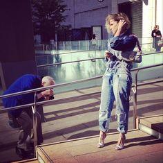 Street Style expert Bill Cunningham capturing the double denim trend