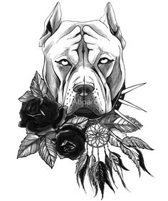 dog drawing Pit bull dog drawing print with flowers by Aboard Tatouage Pit Bull, Bull Tattoos, Pit Bull Tattoo, Perros Pit Bull, Pitbull Drawing, Tattoo Drawings, Art Drawings, Chicano Art, Bull Dog