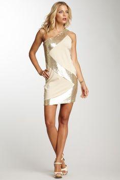 Josh Brody Sequin One-Shoulder Dress