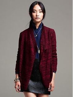Banana Republic - Red Cable-Knit Open Cardigan - $120