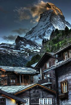 Matterhorn from Zermatt, Switzerland. The Matterhorn (German), Cervino (Italian) or Cervin (French) . Places Around The World, Oh The Places You'll Go, Places To Travel, Places To Visit, Around The Worlds, Travel Destinations, Zermatt, Dream Vacations, Vacation Spots