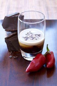 Hot Lips Chocotini (½ Sliced red chile pepper  1 oz. Chocolate flavored vodka 1 oz. Kahlua  ½ oz. Maraschino liqueur  Fresh cream  Chocolate    )