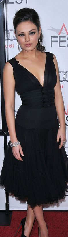 red carpet fashion black dress - Mila Kunis