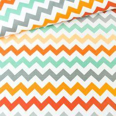 Cotton fabric - Chevron Mint-orange - All / Digitally printed cotton fabric / Cotton fabric Chevron, Printed Cotton, Cotton Fabric, Flag, Colours, Orange, Sewing, Prints, Etsy