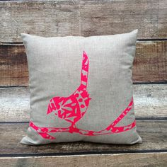 Linen Cushion Cover.Oatmeal. Neon Pink Patterned Bird ♡♡♡neon!