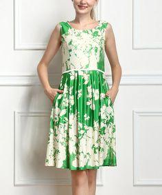 Another great find on #zulily! Green Floral Sleeveless Dress #zulilyfinds
