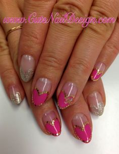 heart shaped french gel nail with holograms