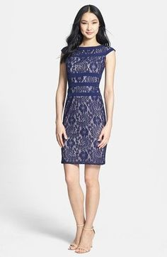 ADRIANNA PAPELL Lace Sheath Dress NAVY Size 14 #333 NWT #AdriannaPapell #Sheath #Formal