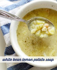 Warm and comforting white bean, potato, lemon, and dill soup. The perfect light and healthy soup for fall!