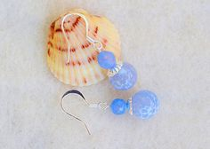 Light blue earrings blue lace agate baby by MontanaAnniesJewelry