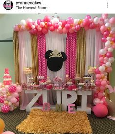 Minnie Mouse Princess Theme Birthday Party Dessert Table and Decor