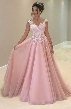 Fancy Pink Prom Dress,Long Prom Dress with Appliques,Prom Dresses 2017,Party Dress,A line Prom Dress,Formal Dress