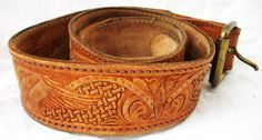 Unisex  Vintage TOOLED Leather Belt  USA  by AtomicTreasureHunter, $19.00