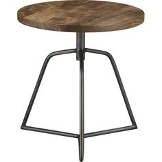 "dot acacia side table-stool in accent tables | CB2-Break room (1 or 2) by  sofa as a coffee table or flanking 2 chairs. $199ea. 18""diameter x 19"" ht. Acacia Wood Steel base with antiqued zinc finish."