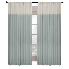 allen   roth�Project Trio 63-in L Solid Blue Back Tab Curtain Panel
