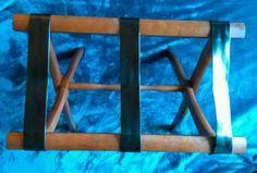 $9.99 OR BEST OFFER Vintage Luggage Rack Wood Black Straps Suit Case Wooden travel Holder Foldable #Unbranded