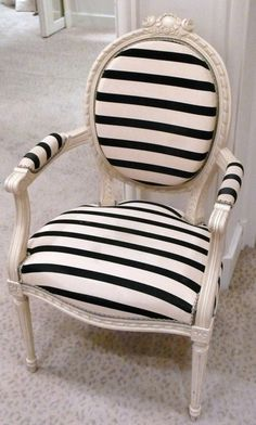 Great way to reupholster an old #chair. Paint it first, buy some fabric & staple it on. Don't be afraid to try this!